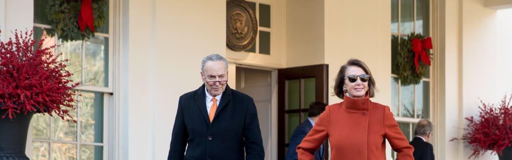「FIRE COAT」を着用しホワイトハウスを後にするナンシー・ペロシ(Andrew Harnik/Associated Press)