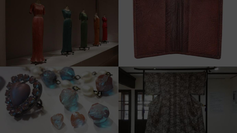 (右上から時計周りに)ロシアンレザーを使用した財布、復刻した高砂染生地で新たに仕立てられた着物、サフィレット、マリアノ・フォルチュニィが製作したドレス「デルフォス 」