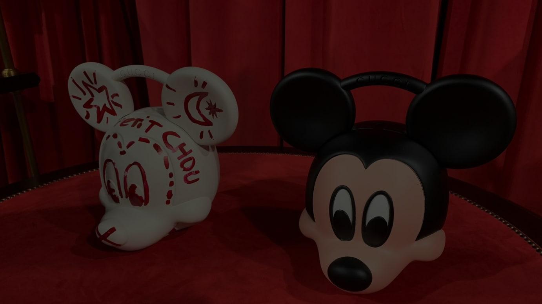 ミッキーマウス トップハンドルバッグ(左からホワイト、ブラック)