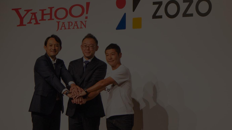 (左から)ヤフーCEOの川邊健太郎氏、ZOZO新社長の澤田宏太郎氏、ZOZO創業者の前澤友作氏