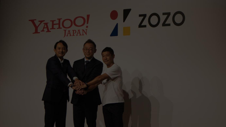 (左から)ヤフー代表取締役社長CEO 川邊健太郎、ZOZO代表取締役社長兼CEO 澤田宏太郎、ZOZOファウンダー 前澤友作