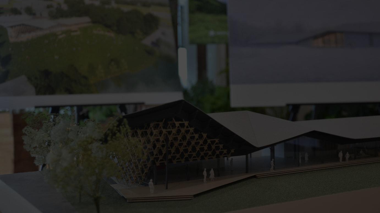 隈研吾が手掛ける施設内建物の模型