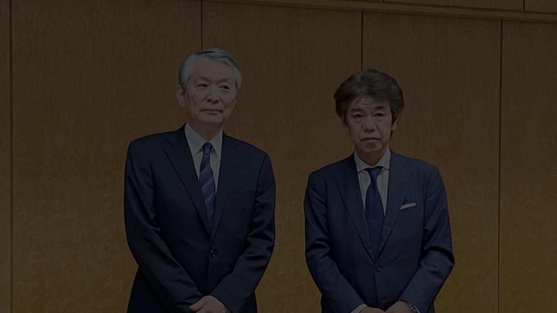 (左から)現現副社長執行役員の大江伸治氏、現代表取締役社長の中山雅之氏