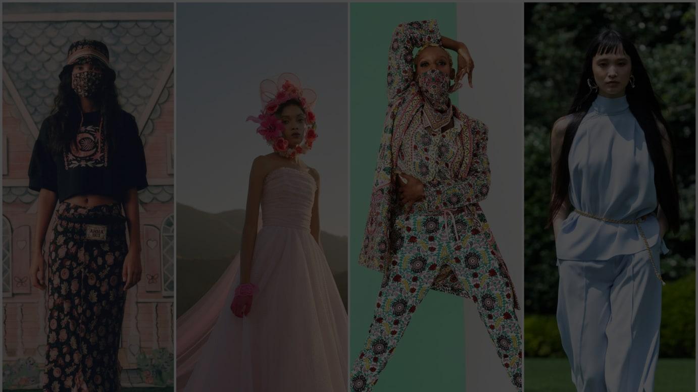 左から「アナ スイ」「ロダルテ」「アリス アンド オリビア」「アディアム」が発表した2021年春夏コレクション