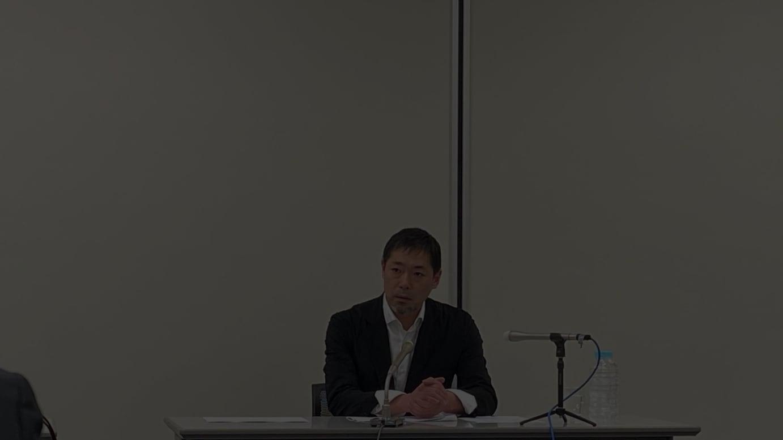 記者会見に登壇した寺尾玄代表取締役社長