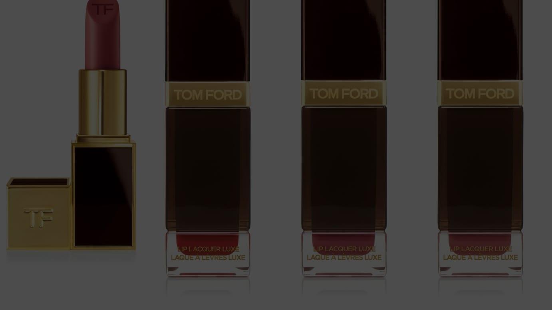 (左から)「リップ カラー」03H ヌビル、「リップ ラッカー リュクス(マット)」16Hスカーレッド ルージュ、69H ナイト モーヴ、03H ヌビル