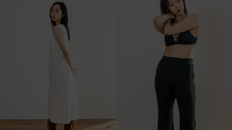 「Uniqlo and Mame Kurogouchi」を着用したモデル