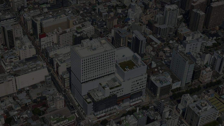 南西部上空から見た大宮門街 撮影:石黒写真研究所(2021年9月撮影)