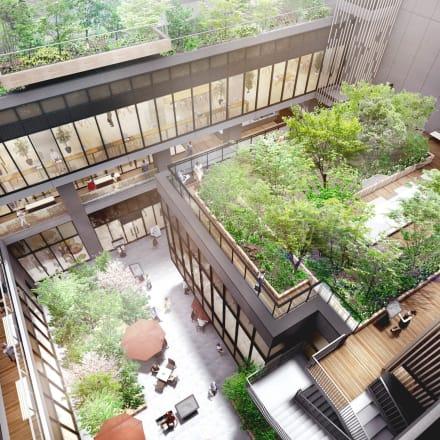 八幡通りから緑豊かな中庭を経由するアプローチ(イメージ)