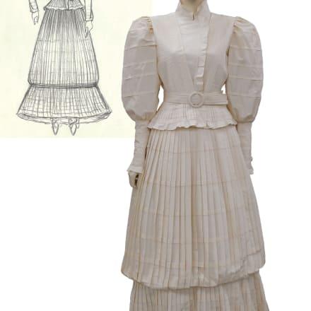 ウェディングドレスとデザイン画 文化学園ファッションリソースセンター所蔵