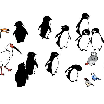 「ペンギンと鳥たちの広場」版画