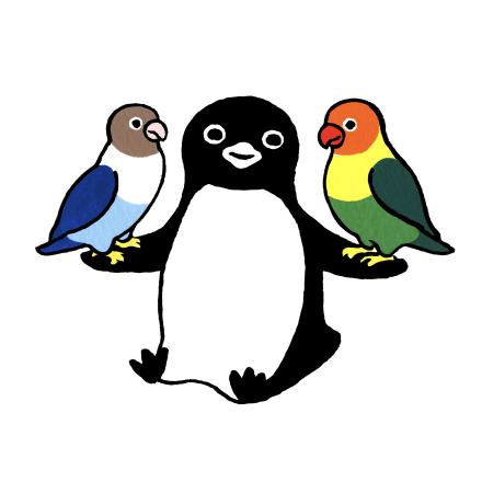 「ペンギンとボタンインコ」版画