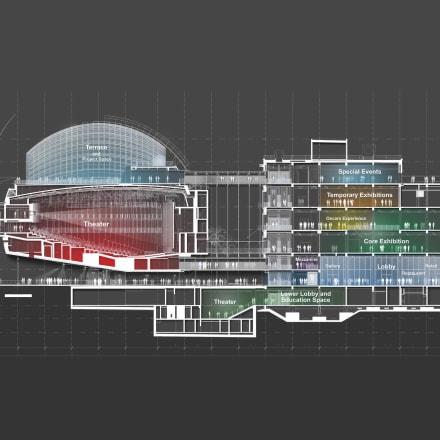アカデミー映画博物館、断面図 ©Renzo Piano Building Workshop/©Academy Museum Foundation