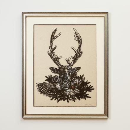 福井利佐「Christmas」2020年 ラシャ紙、和紙、アクリル絵具