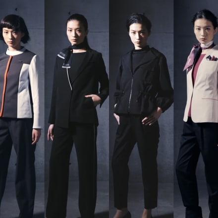 パンツスタイル(左から SENSAI、est、KANEBO、LUNASOL、TWANY、ALBLANC) Image by 花王
