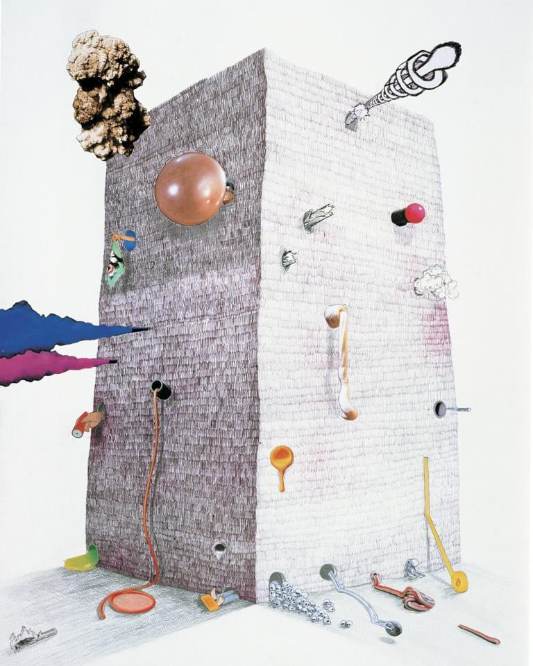 tower 2008 ボールペン、印刷物と写真の切り抜きをコラージュ、紙 73x51cm  Copyright Teppei Kaneuji. Courtesy the artist and Yumiko Chiba Associates, Tokyo Photo:新井卓