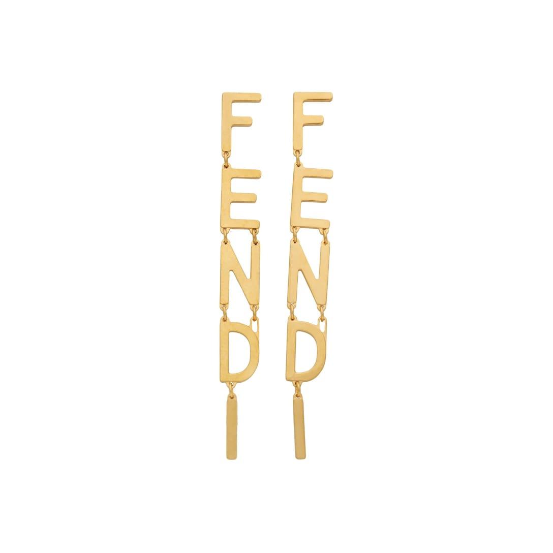 FENDI ゴールド ロゴ チャーム ピアス ¥68000
