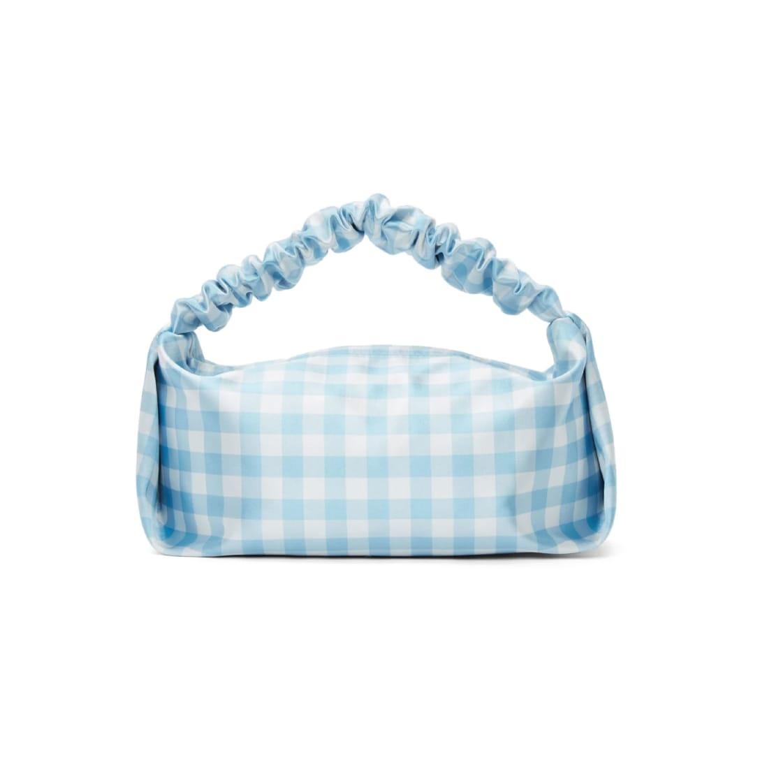 アレキサンダーワン(ALEXANDER WANG )ブルー & ホワイト チェック ミニ Scrunchie バッグ 46000円(関税・消費税込)