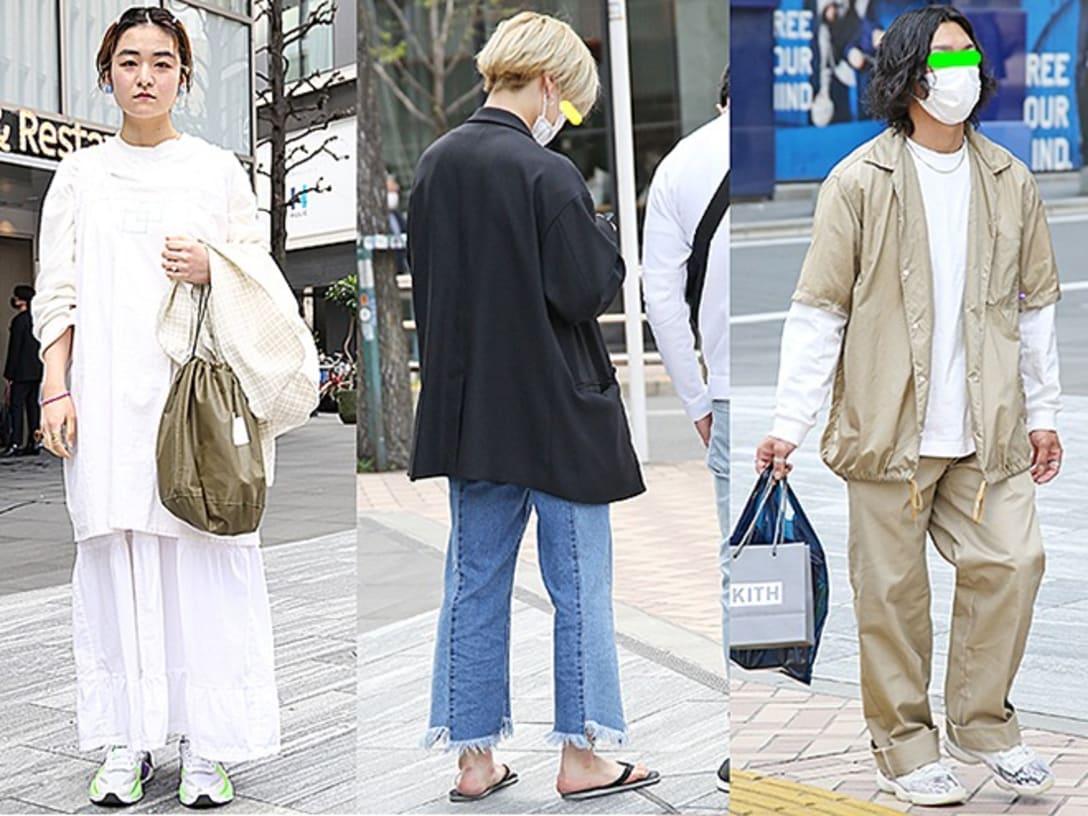 (左から)携帯が乗っ取られてストレスが溜まっていたので、気分転換で白を着てきました。最近白に目が行きます(渋谷)/早くもビーサンを着用していた彼のリメイクジーンズは大阪のコンテナストアで購入したもの。ドメブラ<MR.OLIVE(ミスターオリーブ)>のジャケットに、ビーサンとプラチナヘアで抜け感を演出していた(渋谷)/ベージュの上下でセットアップ風コーディネートの男性。カジュアルなスタイルもチェーンネックレスで大人っぽさがプラスされる(渋谷)。
