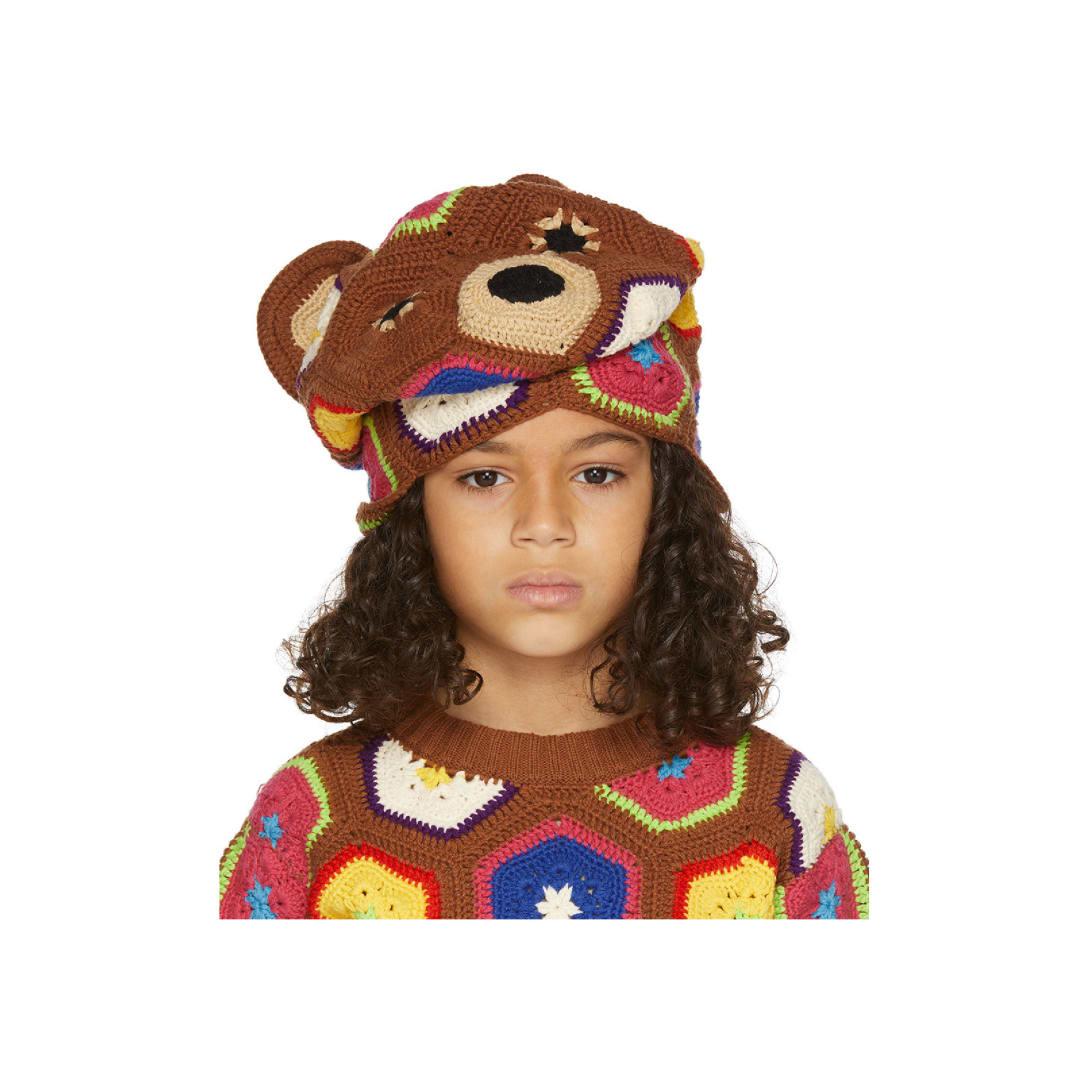 ダブレット(DOUBLET)キッズ|SSENSE 限定 ブラウン & マルチカラー Bear ビーニー ¥29,500(関税・消費税込)