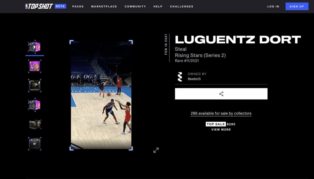Image by NBAの選手のプレー動画を取引・収集できるデジタルカードプラットフォーム「NBA Top Shot」。