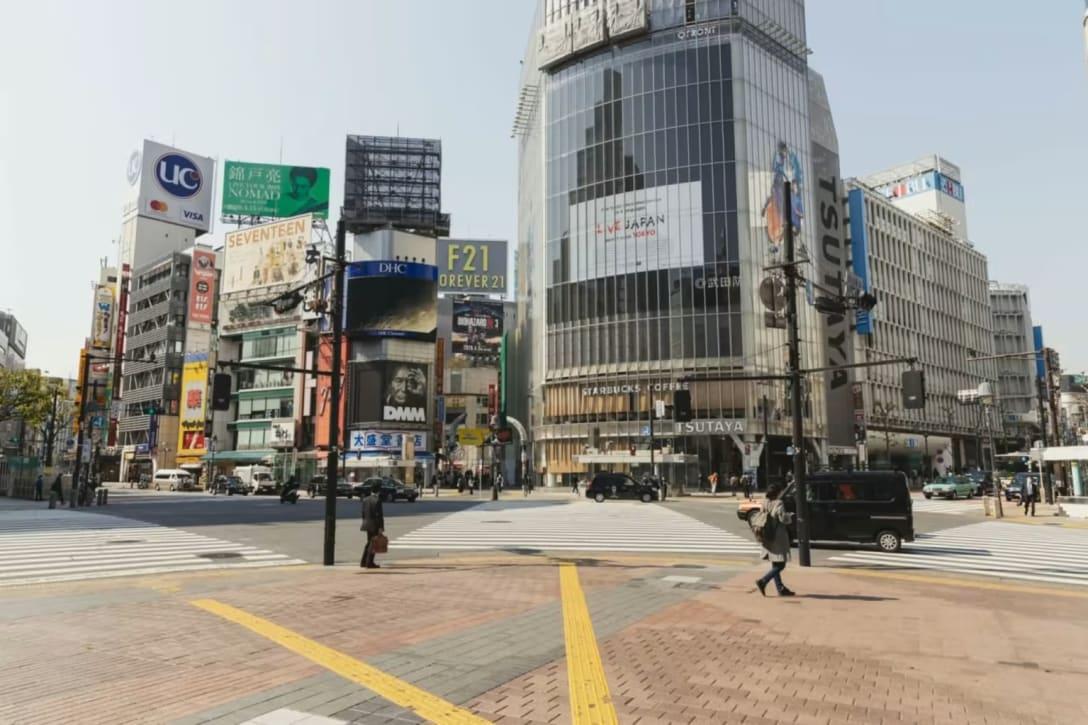 2020年4月8日の渋谷スクランブル交差点の様子 Image by FASHIONSNAP.COM