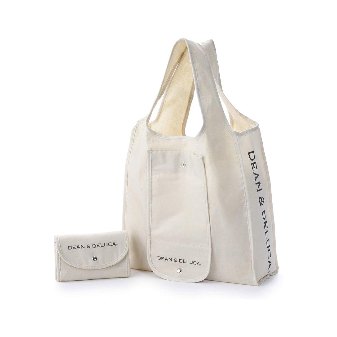 DEAN & DELUCA ショッピングバッグ ナチュラル エコバッグ 折りたたみ 軽量 コンパクト レジ袋 マイバッグ 縦430mm × 横370mm × マチ140mm