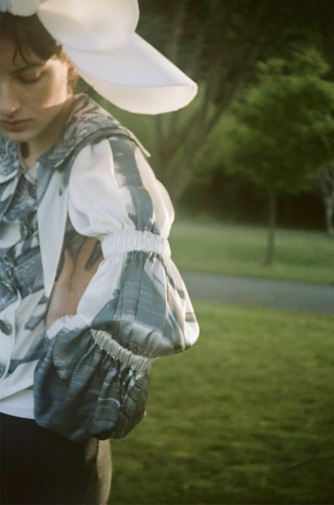 blouse by CHOPOVA LOWENA, headdress by KANA ISHIDA, shorts stylist's own