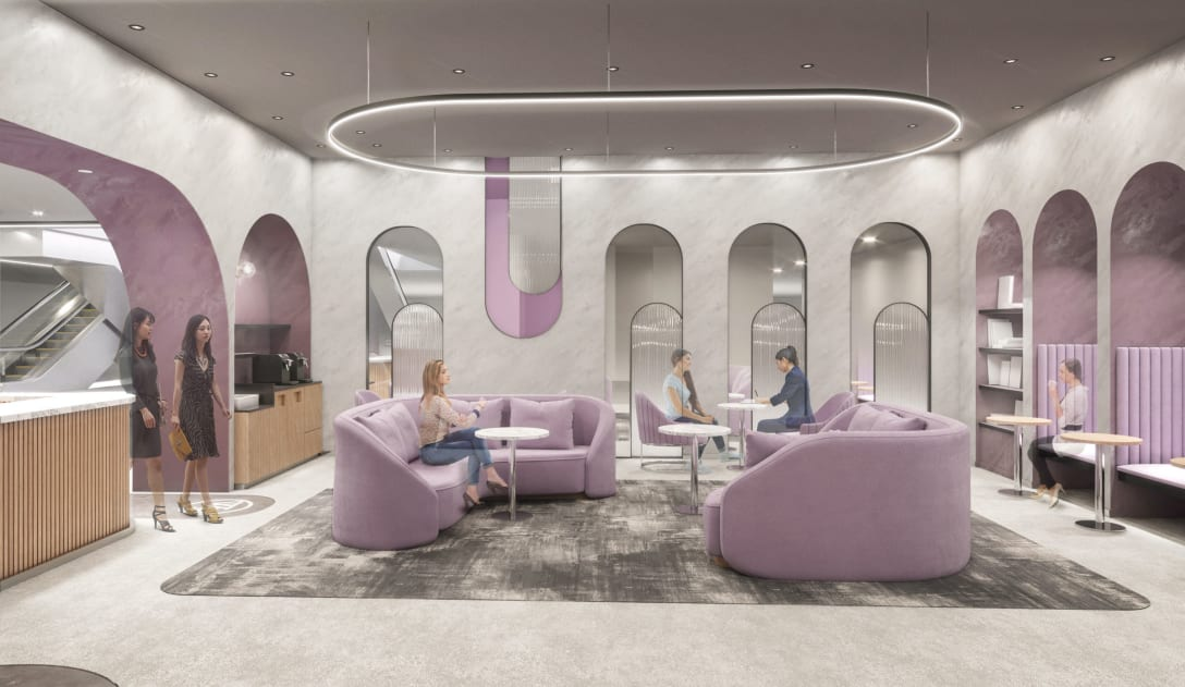 内装はパープルをテーマカラーに曲線やアーチを多用。やわらかさや心地良さを感じられる空間デザインを意識したという。 Image by パルコ