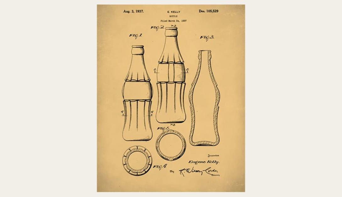 1915年に登録されたコカ・コーラのボトルデザイン特許申請書類の一部